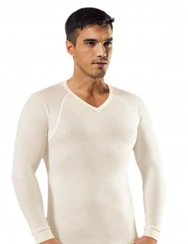 Ανδρική Ισοθερμική Μπλούζα Αθλητική V Λαιμόκοψη σε Λευκό και Μαύρο Χρώμα