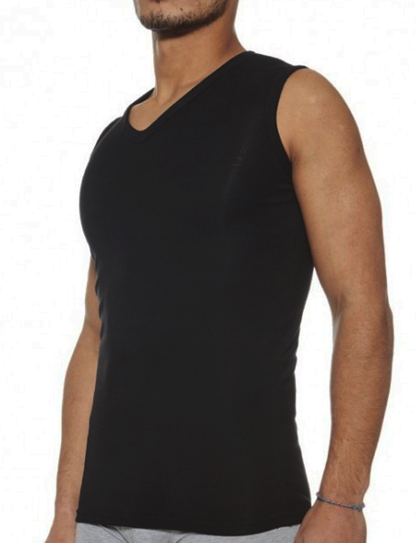 LaModa Ανδρικό Ισοθερμικό φανελάκι αθλητικό Αμάνικο V λαιμόκοψη Λευκό μαύρο  Μαύρο 6ca1862b96a