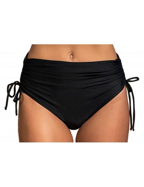 Bikini σλιπ μαύρο ψηλόμεσο, με εσωτερικές ραφές  με κορδονάκια στο πλάι για αυξομείωση
