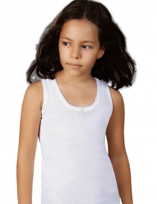 Λευκό φανελάκι φαρδιά τιράντα βαμβακερό για κορίτσια