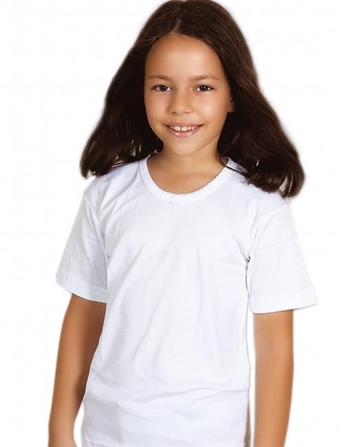 Λευκό φανελάκι κοντομάνικο βαμβακερό για κορίτσι