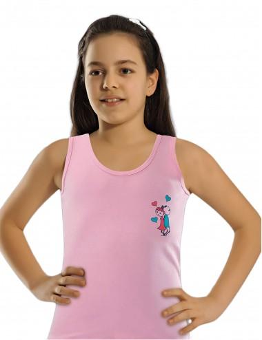 Φνελάκια πακ 6τμχ. Αμάνικα μονόχρωμα για κορίτσια 2 έως 12 ετών Βαμβακερά