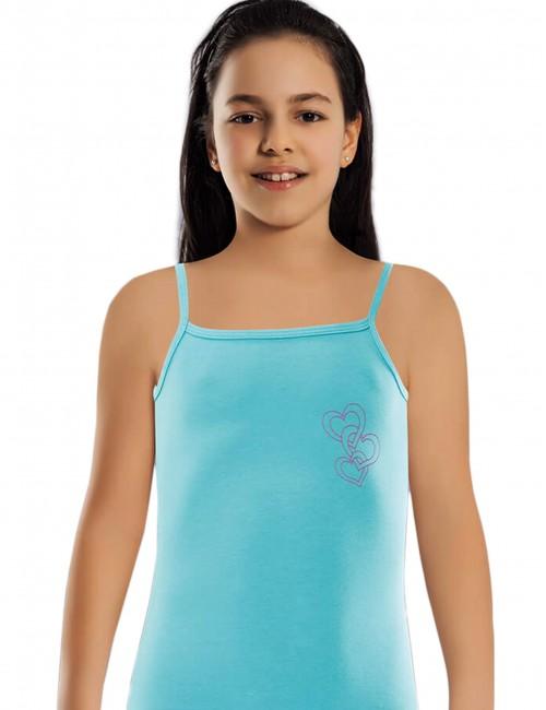 Χρωματιστά φανελάκια με ραντάκι για κορίτσια σετ 6τμχ.