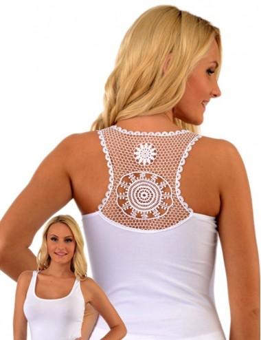 Γυναικείο βαμβακερό αμάνικο φανελάκι,με εντυπωσιακή δαντέλα στην πλάτη.