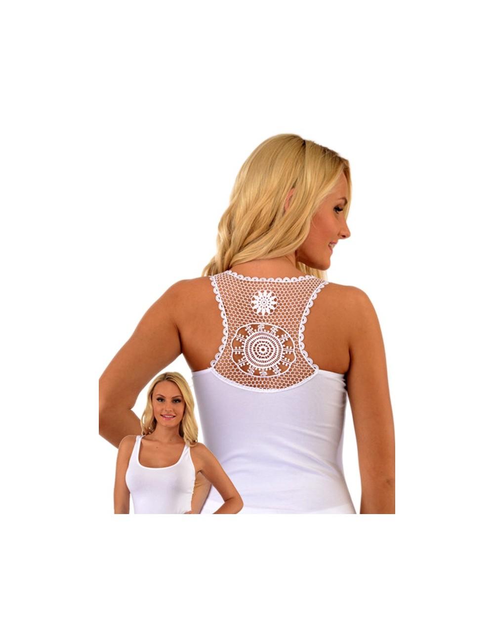 Γυναικείο Βαμβακερό Φανελάκι Αμάνικο με εντυπωσιακή δαντέλα στην πλάτη.