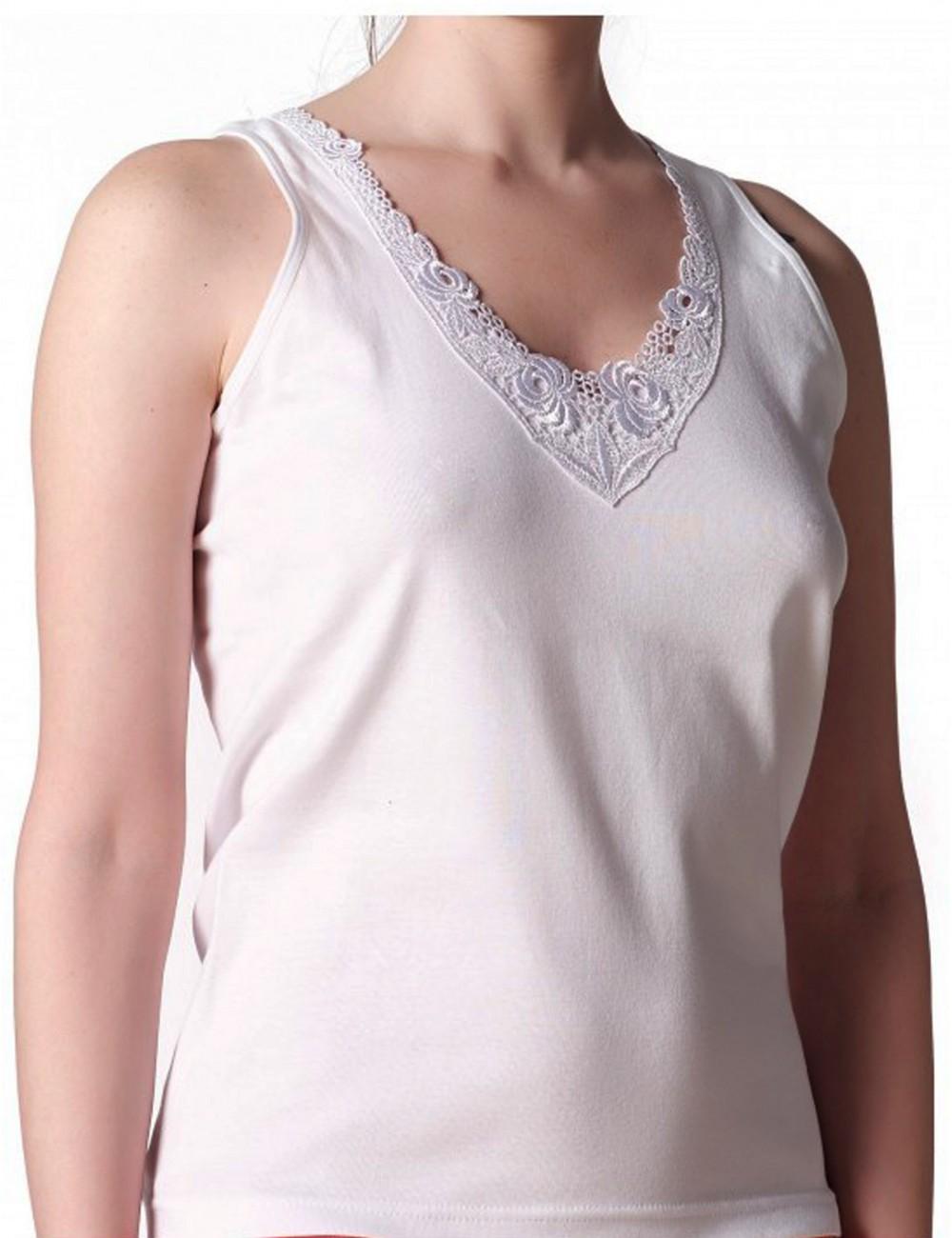 Γυναικείο Φανελάκι βαμβακερό με φαρδιά τιράντα δαντέλα στο... ada1d8cb35c