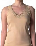 Γυναικείο βαμβακερό φανελάκι κλασικό, αμάνικο με δαντέλα στο ντεκολτέ