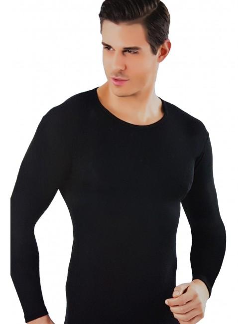 Ανδρική Ισοθερμική μπλούζα μακρυμάνικη με στρογγυλή λαιμόκοψη μαύρη