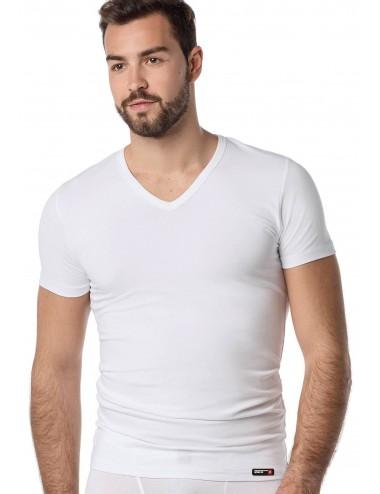 Ανδρικό φανελάκι T-shirt βαμαβκερό με κοντό μανίκι V λαiμόκοψη Πακ. 2τμχ Vamp 0134