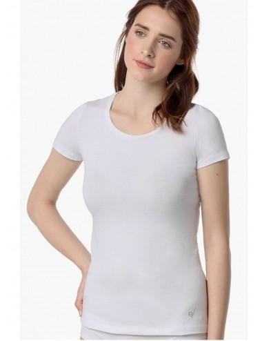 Γυναικείο T- SHIRT Βαμβακερό VAMP Κοντμάνικο σε Λευκό και Μαύρο χρώμα