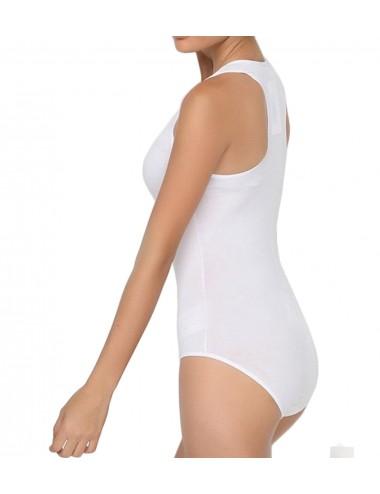 Γυναικείο βαμβακερό κορμάκι με αθλητική πλάτη σε λευκό και μαύρο χρώμα