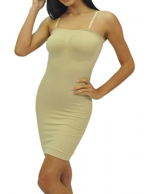 Γυναικείο φόρεμα λαστέξ Strapless με αποσπώμεες & ρυθμιζόμενες τιράντες