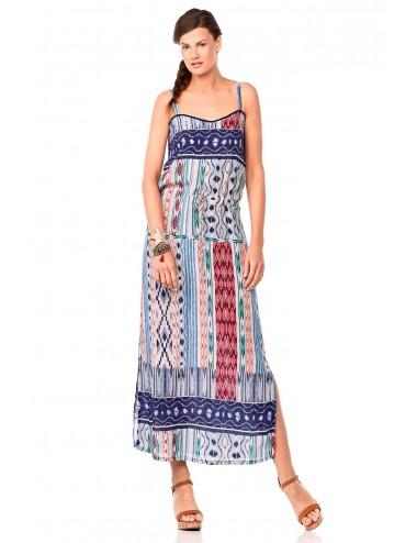 Καλοκαιρινό μάξι φόρεμα με τιράντα από βισκόζη Vamp 6957
