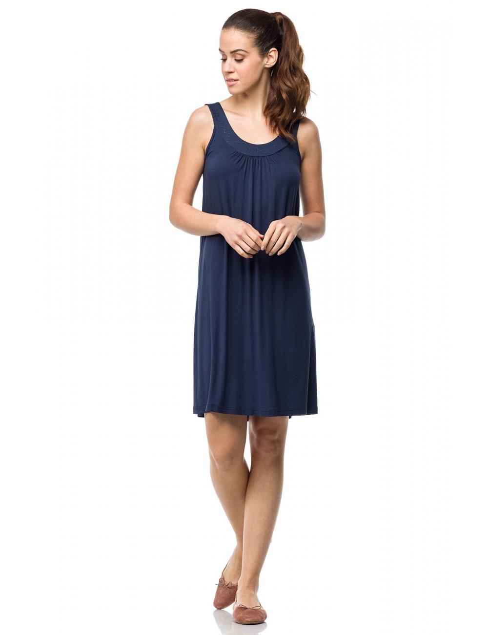 Καλοκαιρινό κλασικό φόρεμα viscose μπλε Vamp 0414
