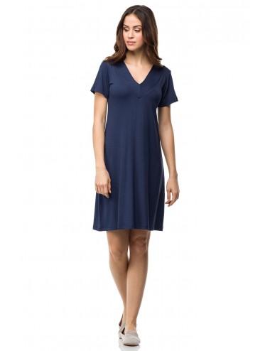 Καλοκαιρινό κλασικό φόρεμα viscose μπλε Vamp 01602