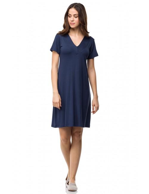 Καλοκαιρινό κλασικό φόρεμα viscose μπλε Vamp 0415