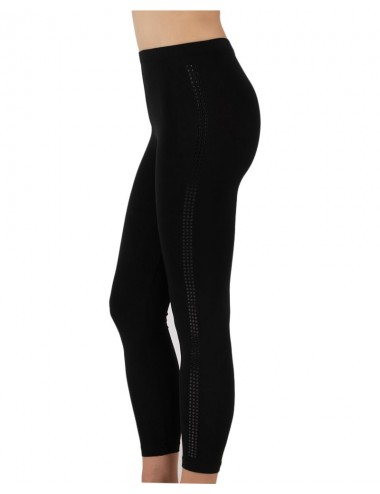 Γυναικείο βαμβακερό κολάν μάυρο με διακριτικό σχέδιο στο πλάι