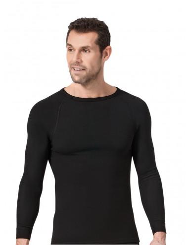 Ανδρική ισοθερμική μπλούζα μακρύ μανίκι με στρογγυλή λαιμόκοψη Namaldi σε λευκό λαδι μαύρο και ανθρακί χρωμα