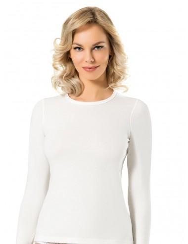 Γυναικεία Ισοθερμική Μπλούζα Μακρύ Μανίκι Στρογγυλή Λαιμόκοψη σε Μαύρο Μοβ και φούξια Χρώμα