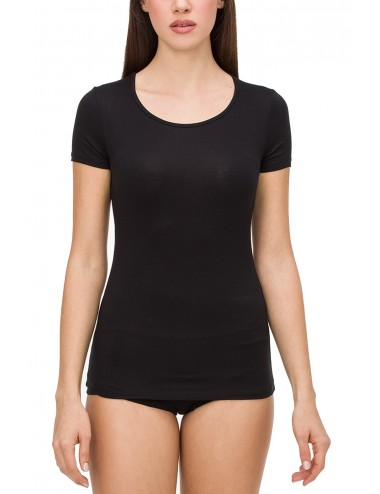 Γυναικείο T- SHIRT κοντομάνικο σε λευκό και μαύρο χρώμα Micromodal 0200 VAMP