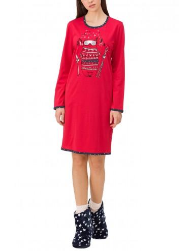 Γυναικείο βαμβακερό νεανικό χειμωνιάτικο νυχτικό VAMP 11440