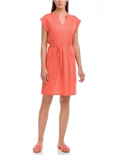 Φόρεμα παραλίας μονόχρωμο με ζώνη Vamp 12511