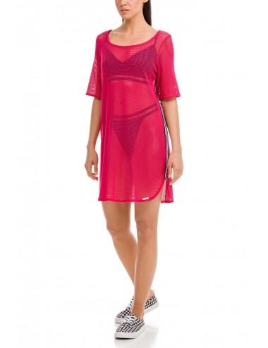 Φόρεμα παραλίας κοντομάνικο ζακάρ Vamp 12549