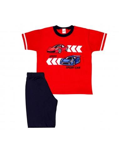 Παιδική βαμβακερή πυτζάμα για αγόρια καλοκαιρινή Minerva 61683