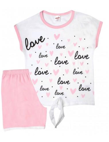 Παιδική βαμβακερή πυτζάμα για κορίτσια καλοκαιρινή Minerva 61657