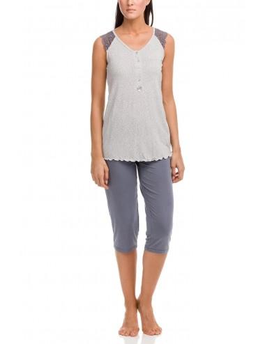 Γυναικεία πυτζάμα πολυτελείας με κάπρι παντελόνι Vamp 12186