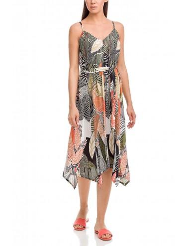 Μακρύ φόρεμα ασύμμετρο με λεπτή τιράντα VAMP 12532