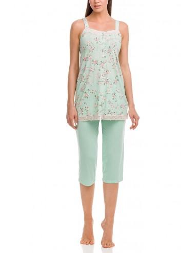 Γυναικεία πυτζάμα αμάνικη με κάπρι παντελόνι VAMP 12254