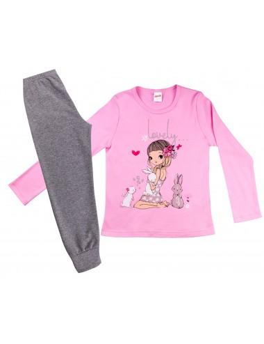 Παιδική Πυτζάμα Βαμβακερή για Κορίτσια Minerva 90-61741