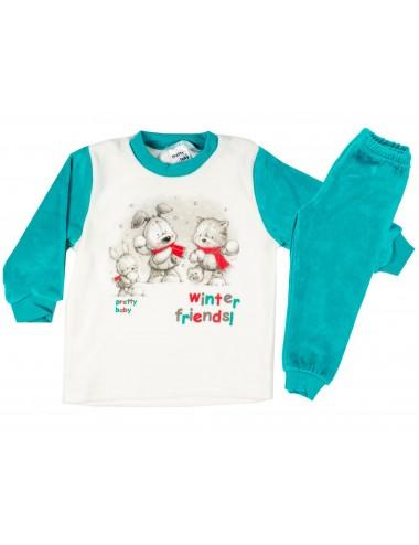 Βρεφική Χειμερινή Πυτζάμα Βελουτέ Pretty Baby 68132