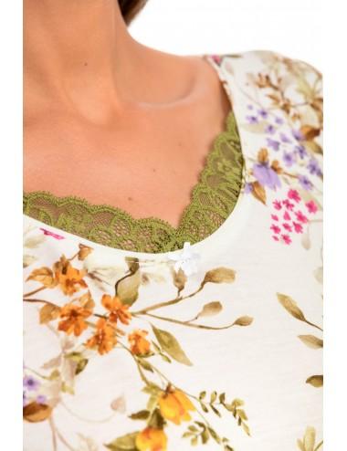 Κοντομάνικο Floral Νυχτικό Micro-Modal Vamp 14118 Lamoda.gr