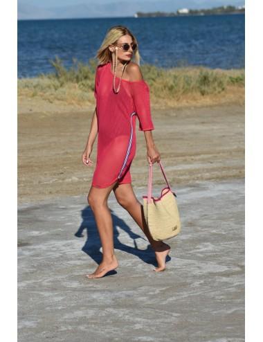 Vamp Φόρεμα Παραλίας Κοντομάνικο Ζακάρ 12549 Lamoda.gr